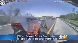 Video: Fiery Crash After Driver Slams Into Patrol Car [Video]