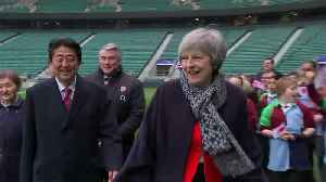 British and Japanese Prime Ministers tour rugby stadium [Video]