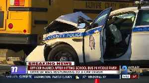 Bus collides with police cruiser in Middle River [Video]