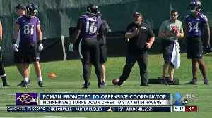 Ravens promote Roman to Offensive Coordinator [Video]