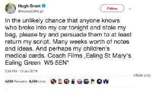 Actor Hugh Grant Tweets Desperate Plea After Thieves Break Into His Car [Video]