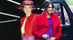 Meghan Markle Channels Princess Diana in Purple and Red Jewel Tones - Look of the Week! [Video]