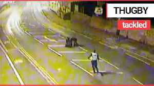 Police thank two have-a-go-hero pals captured on CCTV rugby tackling a wanted man [Video]