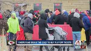 Chiefs fans camp outside Arrowhead Stadium to buy tickets [Video]