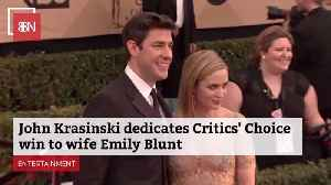 News video: John Krasinski Gives A Special Nod To Wife Emily Blunt