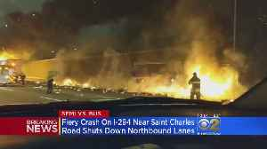 Semi Bursts Into Flames After Crashing Into Bus On I-294 [Video]