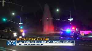 Vehicle hits hydrant, causes geyser [Video]