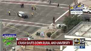 Four hospitalized after crash between car and Tempe police cruiser [Video]