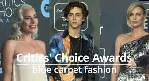 News video: Critics' Choice Awards: Blue carpet fashion