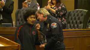 Teen Awarded for Courage After Disarming Large, Armed Man Who Was Robbing Woman [Video]