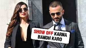 Anand Ahuja Calls Wife Sonam Kapoor A SHOW OFF Publicly   10 Year Challenge [Video]