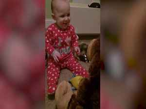 Baby Becomes Best Friends with Stuffed Animal [Video]