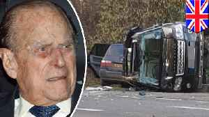 Prince Philip uninjured after Range Rover flips in car crash [Video]