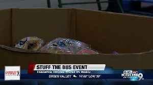 """Stuff the bus"" food drive aims to bring in food, money donations for community food bank [Video]"