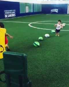 Little Kids Do Rugby Footwork Drills [Video]