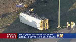 9 Students, School Bus Driver Taken To Hospitals After 4-Vehicle Crash [Video]