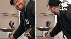 Kind man helps pigeon quench its thirst at water fountain [Video]