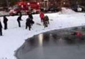 Boy Rescued After Falling Into Icy Pond in Naperville [Video]