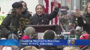 Dueling Women's Marches Held In NYC [Video]
