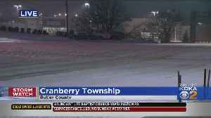 Snow Covering Roads In Cranberry [Video]