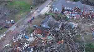 News video: Drone footage shows Alabama town of Wetumpka devastated by rare winter tornado