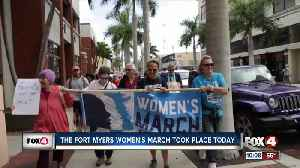 People gather for the Fort Myers Women's march [Video]