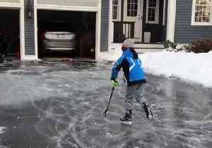 Kids in Hingham Make Best of Icy Weather With Driveway 'Ice Rink' [Video]