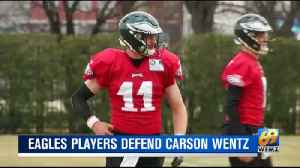 Carson Wentz defended by teammates [Video]