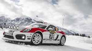 Demo run for the Porsche Cayman GT4 Rallye on snow and ice [Video]