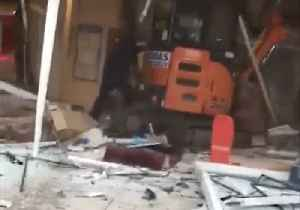 News video: Builder Destroys Hotel Lobby With Digger in Rampage Sparked by Pay Dispute