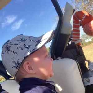 Adorable Baby Laughs Hilariously Seeing Dad Practice Golf [Video]