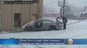 3 Juveniles Arrested After Vehicle Crashes Into Police Station [Video]