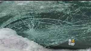 Windshield Smashed By Ice From Bridge On Route 20 [Video]