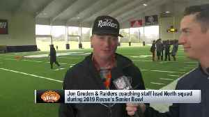 Oakland Raiders head coach Jon Gruden highlights players impressing during Senior Bowl practice [Video]