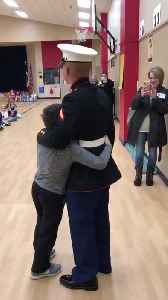 News video: Military Trainee Surprises Little Cousin at School