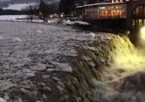 Waterfall in Quechee Gushes After Heavy Snow and Torrential Rain [Video]