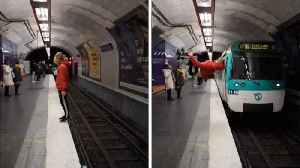 Watch: Commuters stunned as adrenaline junkie backflips in front of oncoming train [Video]