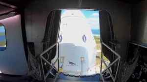 View of SpaceX Crew Dragon from the crew access arm at Kennedy Space Center [Video]