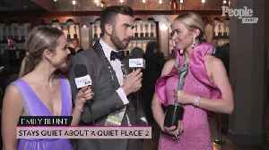Emily Blunt Keeps Quiet About 'A Quiet Place' 2 & What Sandra Oh's SAG Award Means to Her [Video]
