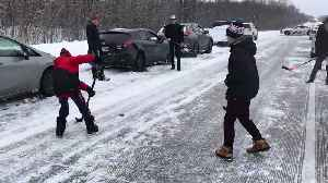 Delayed by 75-Car Pileup, Locals Pass the Time in Most Canadian Way Possible [Video]