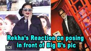 Rekha's Epic Reaction on posing in front of Big B's picture [Video]
