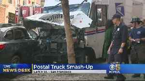 Medical Emergency Leads USPS Driver To Crash Truck In San Francisco [Video]
