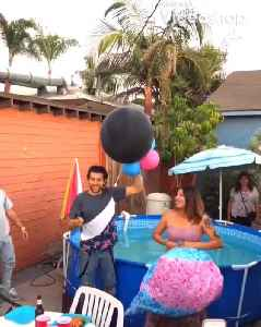 Dad Jumps Into Pool During Gender Reveal Party [Video]