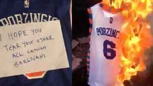 Fans REACT To Kristaps Porzingis Trade To Mavericks By BURNING His Jersey! [Video]