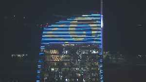 Wilshire Grand Center Lit Up With Rams Logo [Video]