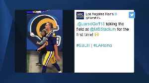 Los Angeles Rams quarterback Jared Goff walks out of tunnel in Rams' Super Bowl uniform [Video]