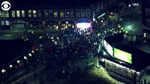 WEB EXTRA: Patriots Fans Celebrate In Street [Video]