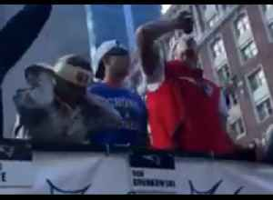 Patriots Player Rob Gronkowski Chugs Beer at Super Bowl Parade in Boston [Video]