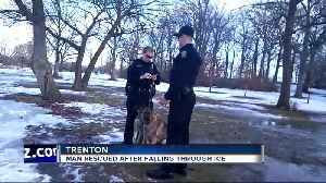 Trenton police rescue man and his canine best friend from icy water off Trenton [Video]