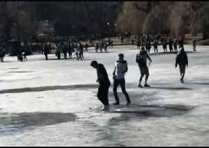Jubilant Patriots Fans Test the Ice on Boston Public Garden Lake [Video]